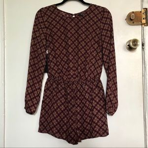 Forever 21 | Pattern Long Sleeve Open Back Romper